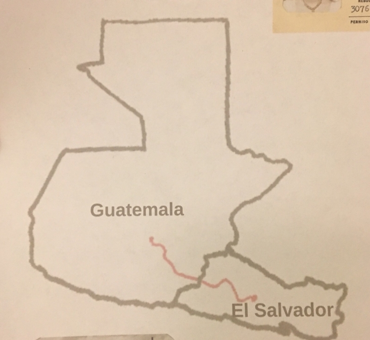 Map of Guatemala and El Salvador. A line is drawn between Guatemala City and the city of San Salvador.